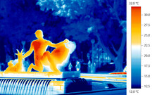 Urban Heat Islands, Thermography Thermal Imaging Of Statues And Park Fountain In Sydney City, Australia