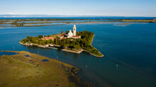 The Barbana Island, A Church In The Middle Of The Sea. FVG, Ital