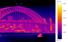 Urban Heat Island, Thermographic Thermal Imaging Of Harbor In Sydney, Australia