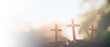 canvas print picture - Three crosses. Easter, Christianity copy space background.