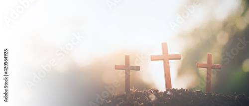 Fotografie, Tablou Three crosses. Easter, Christianity copy space background.