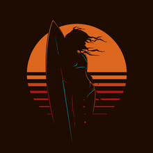 Original Vector Vintage Illustration. A Girl With A Surfboard On The Background Of The Sunset. T-shirt Design