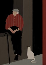 Elderly Man Relaxing For A Walk With A Cat. Aging Up Concept