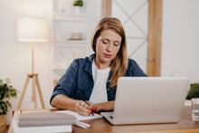 Online Psychotherapist Making Notes During Session