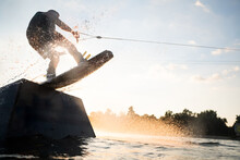 Wakeboarder Jumping Off The Ramp