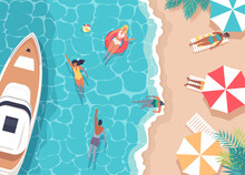 Summer Tropical Sea Beach Resort And Resting People Vector Illustration