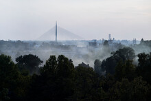 Moody Smoky City View With Copyspace