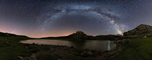 Panoramic View Of A Starry Night With The Milky Way And The Comet Neowise