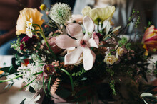 Close Up Of A Beautiful Bouquet With Pastel Colored Flowers