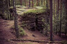 Rock Formation Made From Sandstones Inside Of A Forest