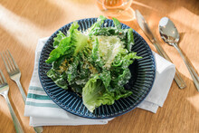 Cesar Salad Plated In Restaurant