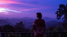 Beautiful Woman Silhouete In Kimono On Scenery View Of Mountain