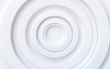 White Volumetric Concentric Circles. Modern Trending Technical Background For Presentations, Web Design. Vector Illustration