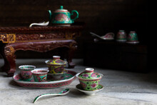 Peranakan Tea Cups And Saucers