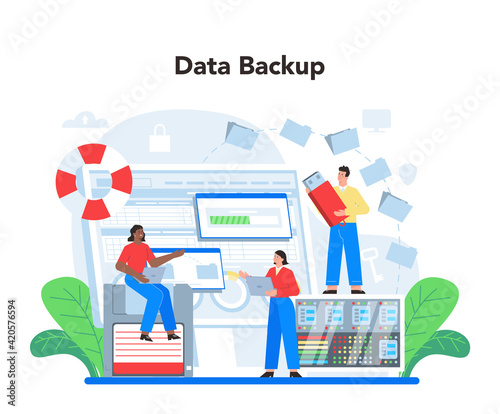Canvas Data base administrator concept. Admin or manager working