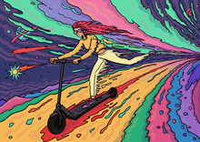 Illustration Of Young Cute Redhead Girl Riding An Electric Scooter On Colorful Fantasy Planet