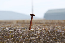 A Sticking Out Old Rusty Nail And Slate On The Roof. Close-up. Selective Focus. Background. Texture.