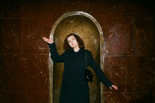 Portrait Of A Model Inside The Moscow Metro With A Funny Pose