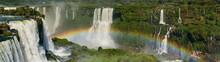 Iguazu Falls With A Big Rainbow