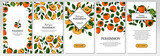 Set of hand drawn colorful persimmon vertical design. Vector illustration in colored sketch style.