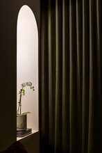 Arch Doorway With Curtain