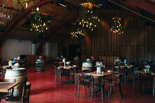 Indoor Venue With Tables And Crates
