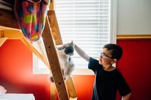 Boy Petting Cat In Bedroom.