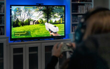 Focus On First Person Shooter Video Game On Television