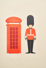 Queen Guard Near Telephone Box
