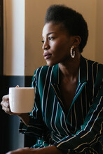 Adult Woman Drinking Coffee