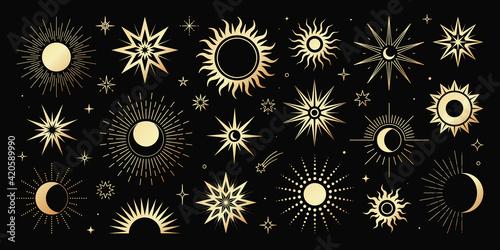Obraz na płótnie Vector golden set of mystical magic different sun and moon