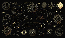 Golden Set Of Sun, Moon, Stars, Clouds, Constellations And Esoteric Symbols. Alchemy Mystical Magic Elements For Prints, Posters, Illustrations And Patterns. Spiritual Occultism Objects.