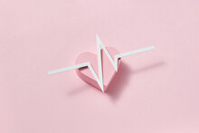 Graphic Line Of Ekg On A Papercraft Heart.
