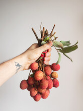 Hand Holding A Bunch Of Lichee Fruits