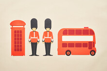 Telephone Box And Double Decker Near Queen Guards