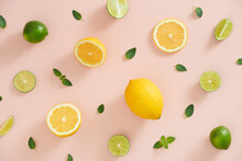 Colorful Pattern Of Mint, Lime, Lemon,ginger Slices