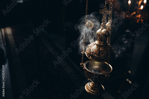 Fototapeta censer in church incense and smoke