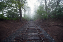 End Of Foggy Tracks In Rural PA