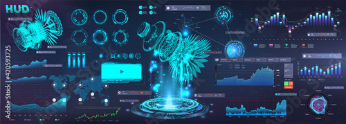 Obraz Modern Business Elements UI, UX in HUD style. Futuristic User Interface GUI 3D objects, infographics, circle, graphic data and chart. Virtual touch graphic interface HUD. Vector interface set for Web - fototapety do salonu