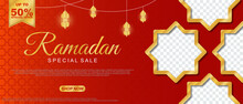 Special Sale Ramadan Sale Islamic Ornament Lantern Banner Template. Suitable For Social Media Post And Web Header. Vector Illustration