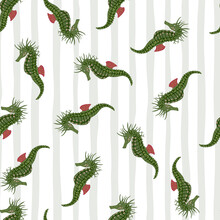 Random Seamless Pattern With Green Seahorse Simple Silhouettes. Green Shapes On Striped Background.