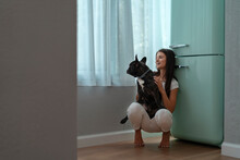 Girl And Her French Bulldog