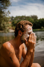 Bohemian Man Washing His Face