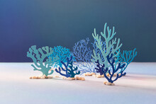 Set Of Blue And Green Underwater Species, Marine Creatures, Sea Or Ocean Flora And Fauna.