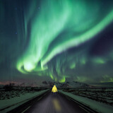 Person in the middle of the road looking at northern lights.