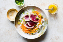 Sesame Seed Tuna With Ginger Lime Dressing
