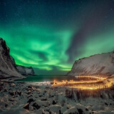 Northern lights glowing over arctic fjord