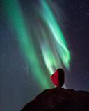 uttakleiv beach, heart and aurora borealis