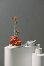 Japanese Style Flower Arrangement Ikebana Isolated On Gray Background
