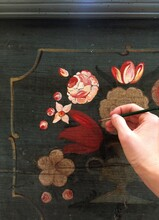 Acrylic Flower Painting On A Wooden Box